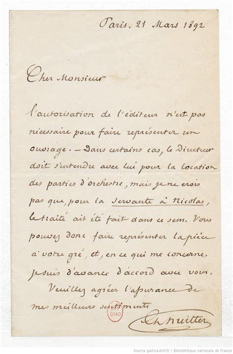 Lettre De Présentation Destinataire Inconnu 1 Lettre De Charles Nuitter 224 Un Destinataire Inconnu 21 Mars 1892 Manuscrit Autographe