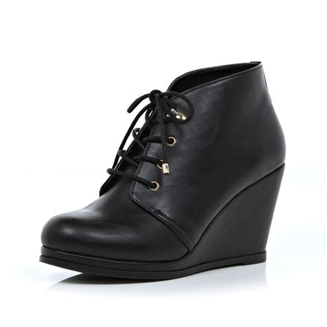 Wedge Heel Lace Up Boots Blue river island black lace up wedge boots in black lyst