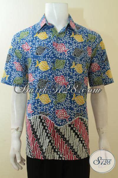 Batik Hem Ikan busana batik pemuda masa kini hem batik birud motif ikan baju batik proses cap harga 100
