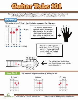 Tablature Wedding Bell by How To Read Guitar Tabs Worksheet Education