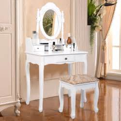 Makeup Vanity Mirror Desk Vanity Table Jewelry Makeup Desk Bench Dresser W Stool 3