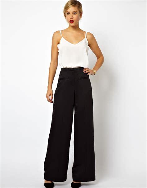 Wide Leg Trouser asos wide leg trousers in satin in black lyst