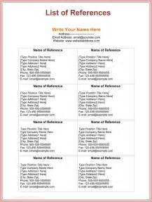 List Of References Template by 3 Free Printable Reference List Template For Word