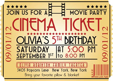 printable birthday invitations movie theme free movie ticket birthday invitations ideas bagvania free