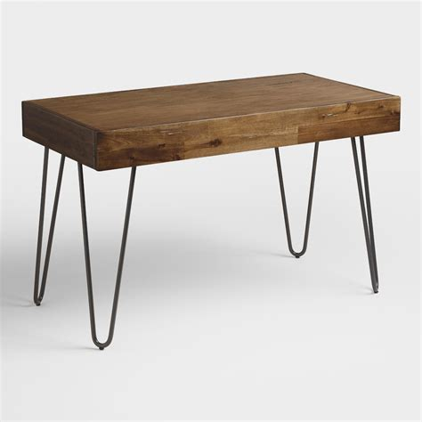 Wood And Black Metal Flynn Hairpin Desk World Market Wood Desk