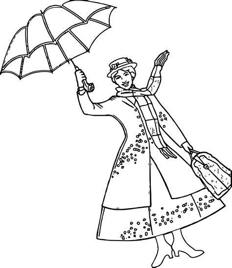 mary poppins girl umbrella coloring page wecoloringpage