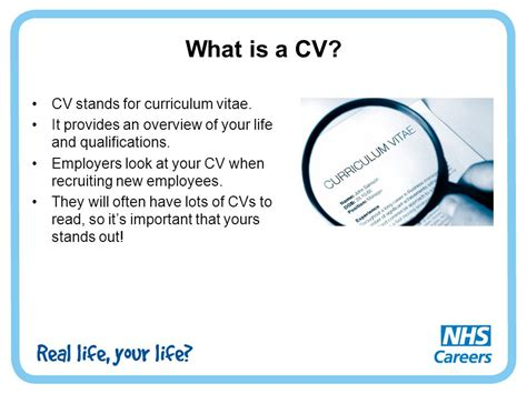 what does cv stand for in activity 2 cv writing ppt