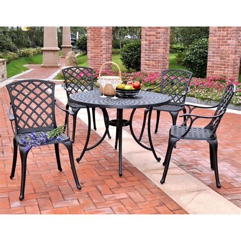 High Patio Dining Set Crosley Sedona 42 In Cast Aluminum Outdoor Dining Set With High Back Arm Chairs Patio Dining