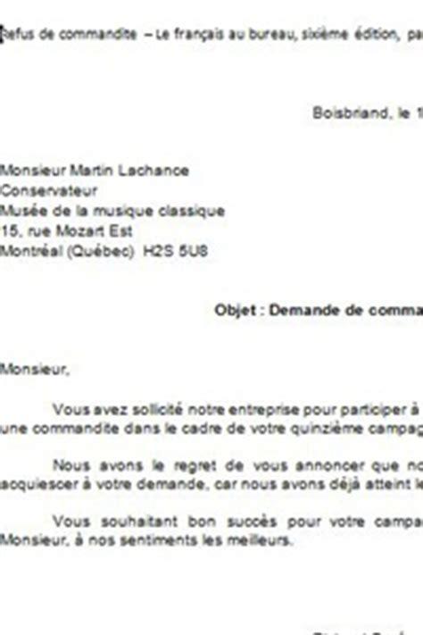 Exemple De Lettre Sollicitation Refus De Commandite Le Fran 231 Ais En Affaires C Est Notre Affaire