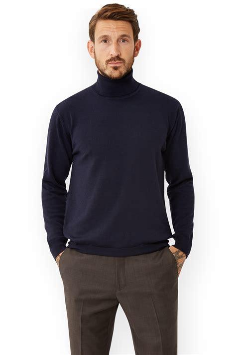 Sweater Polos Hoodie Jumper Biru Navy Xl moss 1851 mens navy blue jumper polo neck merino wool sweater solid colour ebay