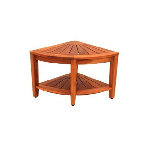 Teak Corner Stool by Aquateak Teak Corner Stool With Shelf Zizo