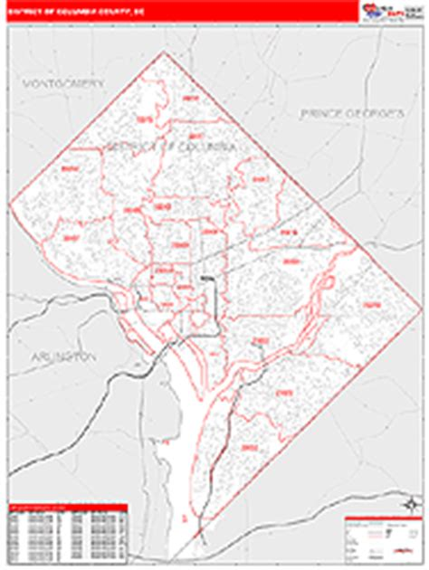 dc zip code map district of columbia county dc zip code wall map images frompo