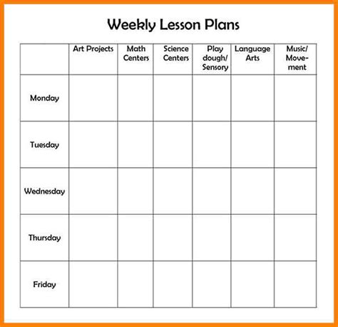 free editable weekly lesson plan template editable weekly lesson plan template gallery template