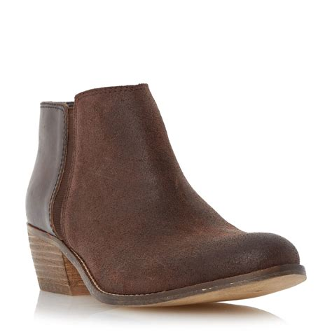 dune penelope low heel ankle boots in brown lyst