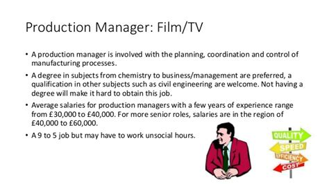Mba In Production Management Salary by Roles In The Television And Industries 2