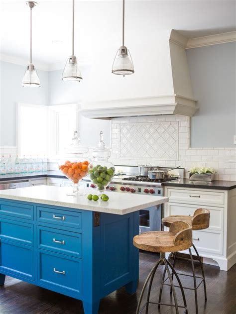 blue kitchen island susan manrao white kitchen with blue island designers