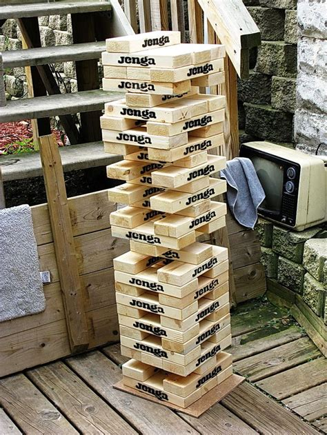 how to make backyard jenga outdoor giant jenga game for the home pinterest