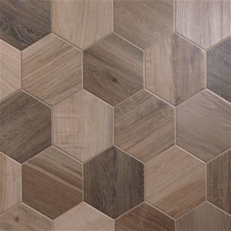 porcelain hexagon 8 inch wood look tile nut