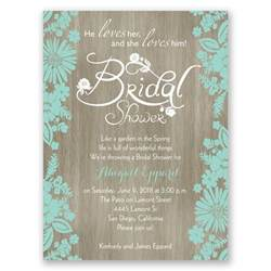 flowers and woodgrain bridal shower invitation