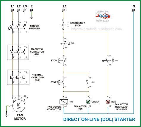 wiring diagram single phase dol starter circuit alexiustoday