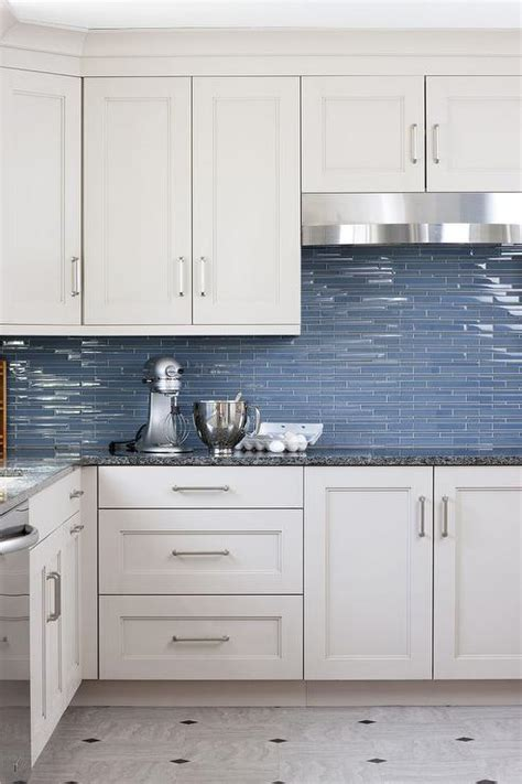 blue glass kitchen backsplash tiles transitional kitchen
