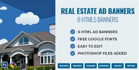 Real Estate Html Ad Banners By Exe Design Codecanyon Real Estate Banners Template