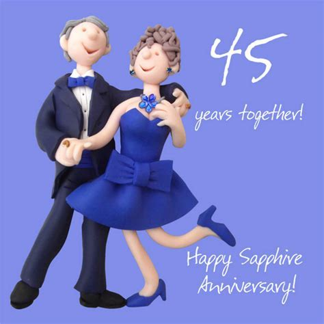 Happy 45th Sapphire Anniversary Greeting Card One Lump or