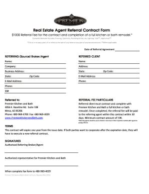 Fillable Online Real Estate Agent Referral Contract Form Fax Email Print Pdffiller Real Estate Referral Agreement Template