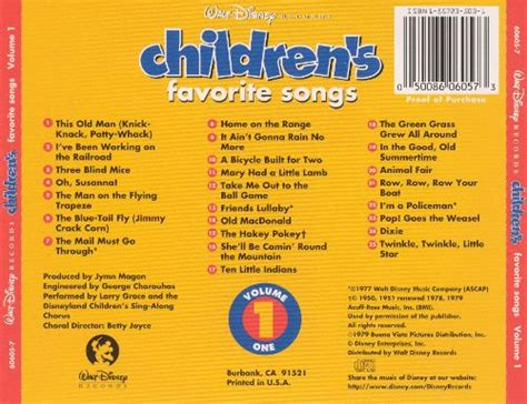 disney children s favorites vol 1 disney songs