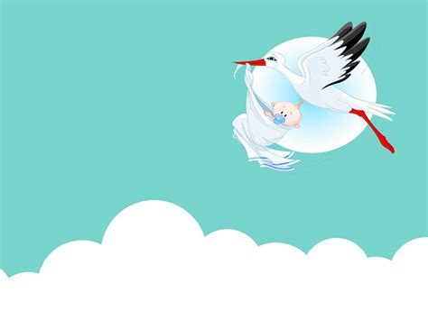 Cute Baby With Stork Backgrounds Animals Blue Green Red Templates Free Ppt Backgrounds Baby Powerpoint Templates