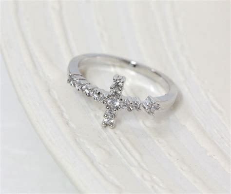 sideways cross ring in white gold knuckle ring