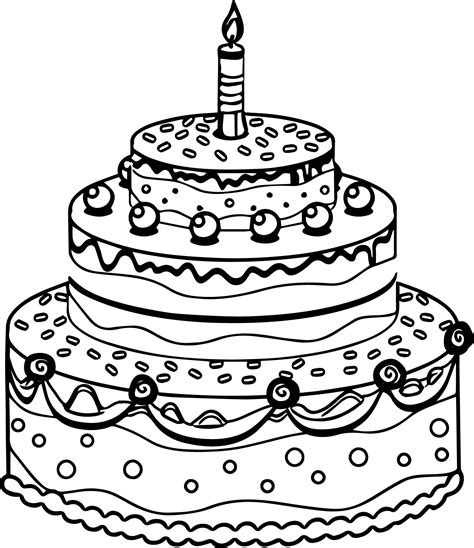 free coloring pages cakes cute birthday cake coloring page wecoloringpage