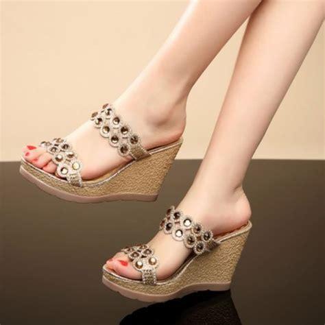 Snow Doll Wedge 5cm s fashion open toe rhinestone platform wedge heels