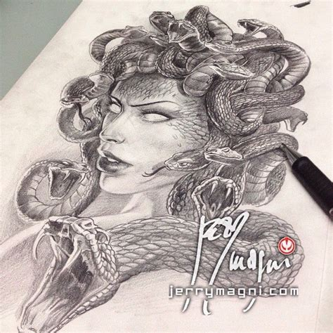 medusa preliminary drawing jerry magni tattoo artist