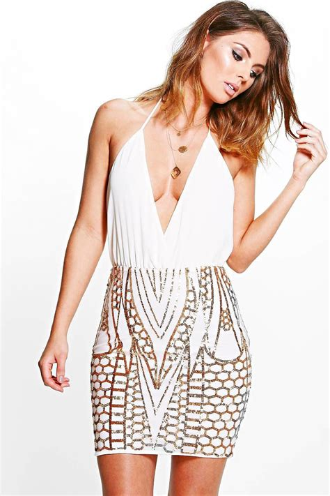 boohoo womens boutique di sequin skirt plunge bodycon