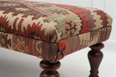 kilim ottoman bench custom ottoman bench upholstered with turkish kilim at 1stdibs