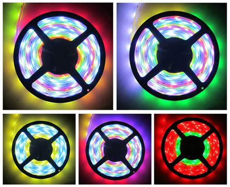 Led 5 Mm Clear Nyala Kedip led light smd 5050 rgb 7 color with eu controller 220v 5m white