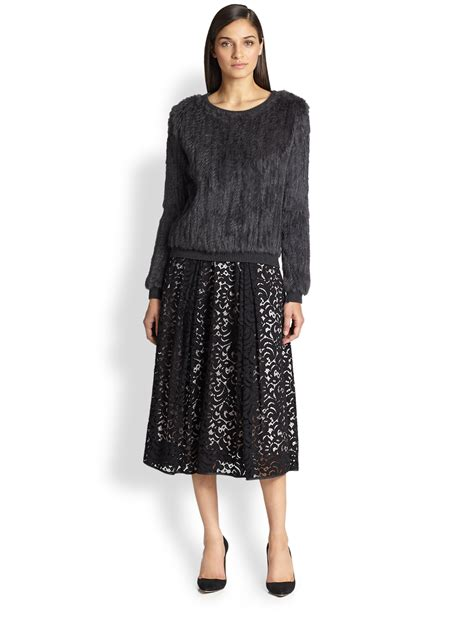 milly lace midi skirt in black lyst