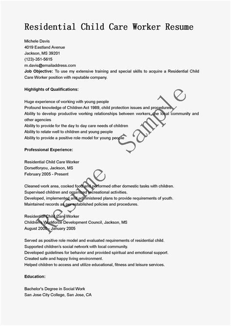 Residential Child Care Worker Sle Resume by Resume Sles Residential Child Care Worker Resume Sle
