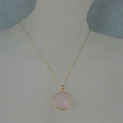 16 Necklace Gold Pink bezel gemstone pendant necklace gold plated chain