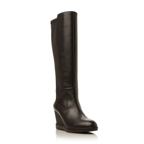 geox jilson hi wedge elastic knee high boots in black lyst