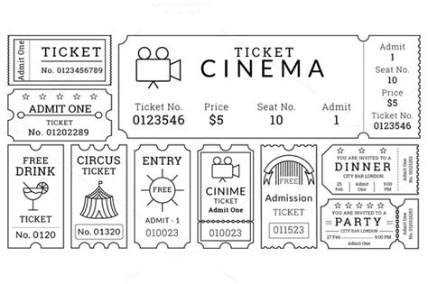 editable ticket template ticket templates pack illustrations on creative market