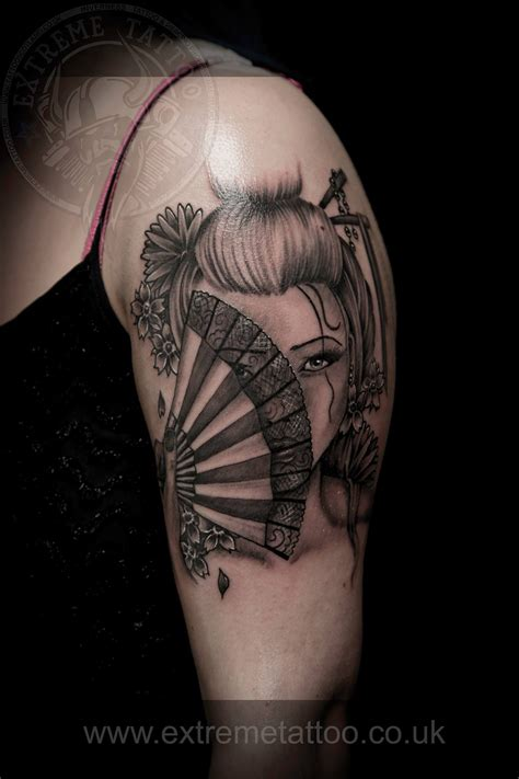 oriental tribal tattoos geisha portrait done at piercing inverness