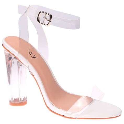 High Heels Pesta Cantik D4 womens high clear heels ankle strappy open toe sandals shoes size ebay