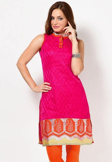 kurti pattern free sleeve less self pattern pink kurti indian kurtis online