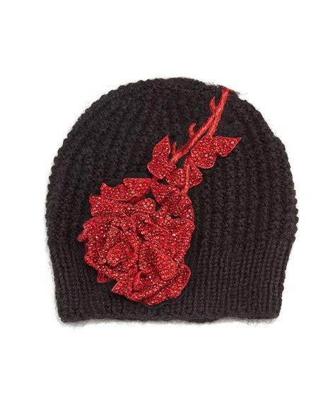 black knit beanie lyst behr rosalia knit beanie hat in black