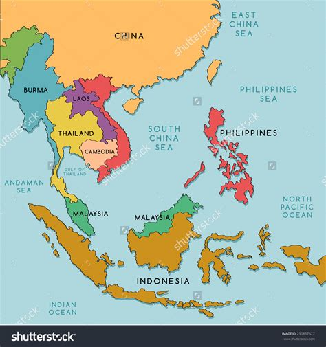 political map of southeast asia east and southeast asia map grahamdennis me