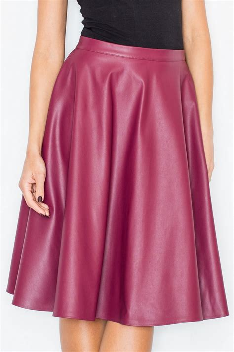 bordeaux faux leather flared skirt fl0164f idresstocode