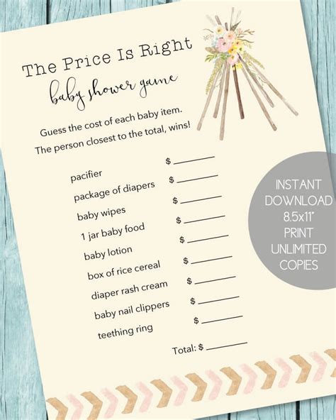 The Price Is Right Baby Shower by The Price Is Right Baby Shower Boho Teepee Theme