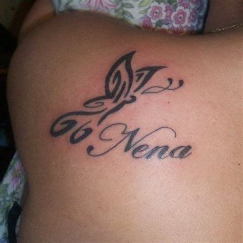 tribal names tattoos black tribal butterfly with nena name on left back